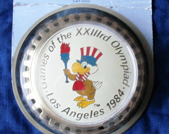 LOS ANGELES OLYMPICS 1984 - Car Badge Souvenir of the xxiii Games Vintage Collectible in Unopened Packaging