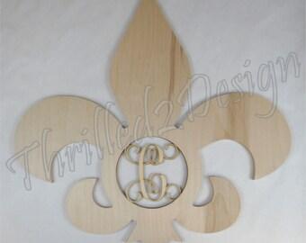 Fleur De Lis wooden shape with Monogram Insert - Door Hanger, Home Decoration, Wreath