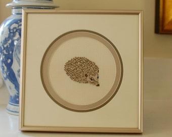 Vintage Framed Hedgehog Needlepoint Wall Art