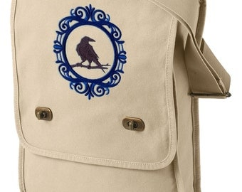 Raven Cameo Embroidered Canvas Field Bag
