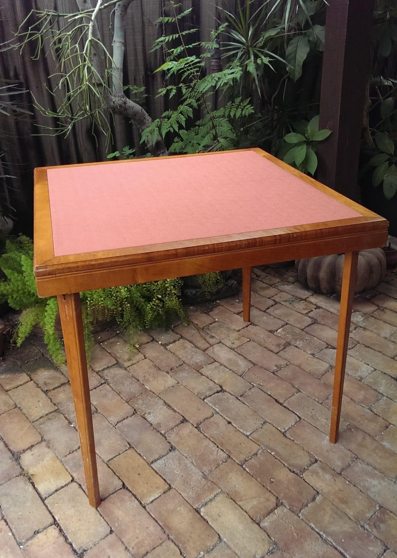vintage burled wood folding card table vinyl top. Black Bedroom Furniture Sets. Home Design Ideas