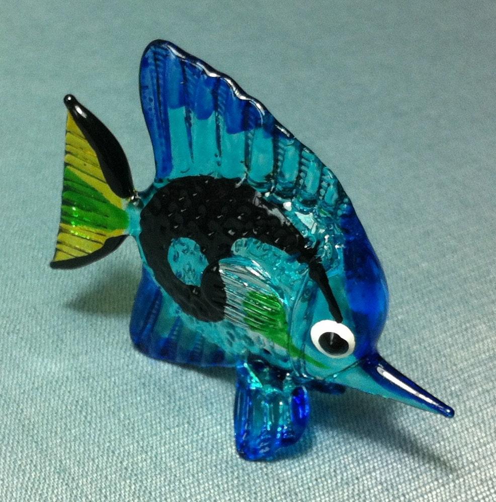 Hand blown glass exotic fish sea animal cute blue black green for Blown glass fish