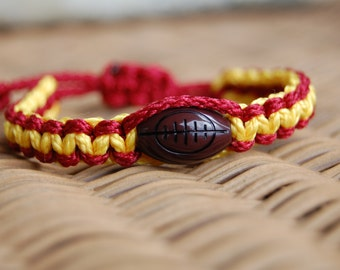 Maroon and Yellow Football Bracelet