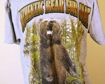 Free Shipping Bear T-Shirt Gray Large Shirt