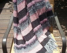 Afghan Throw Blanket Knit afghan handmade throw Rose Pink Blush Gunmetal Gray Sterling Silver Soft (0613F) great gift