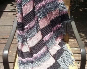Afghan Throw Blanket Knit afghan handmade throw Rose Pink Blush Gunmetal Gray Sterling Silver Soft (0613F) great gift