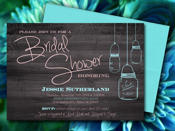 Mason Jar Wood Bridal Shower Invitation Rustic Wedding Shower – Bridal Shower Invitation Templates for Word