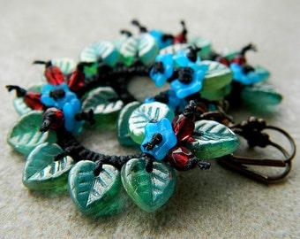 Blue Beaded Hoop Earrings, Vintage Inspired, Blue Flower Hoops, Leaf Hoop Earrings, Floral Gypsy Hoops