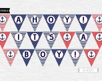 Nautical baby shower banner nautical Ahoy Its a boy baby shower banner printable banner digital boy banner red navy nautical shower (PDN008)