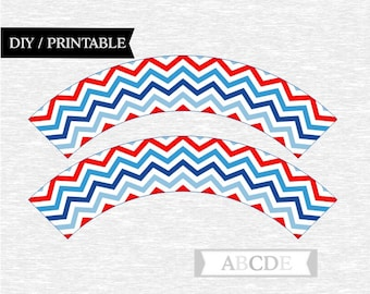 Instant Download Chewron Cupcake wrappers Red and Blue  DIY Printable (PDCH072)