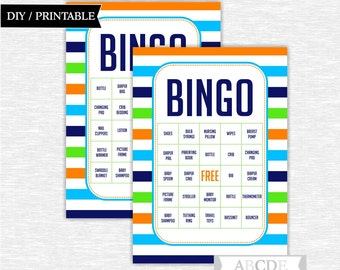 Instant Download Boy Baby shower Game, Traditional Bingo 30 Cards DIY Printable (PDSD001 )
