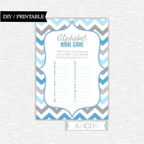 boy baby shower game alphabet baby name game diy printable pdch080