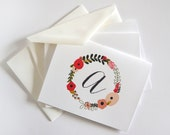 Personalized Notecard Set of 8 | Personalized Stationery Notecards with Hand Drawn Floral Illustration: Blooming Wreath Collection