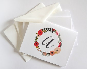 Personalized Notecard Set of 8   Personalized Stationery Notecards with Hand Drawn Floral Illustration: Blooming Wreath Collection