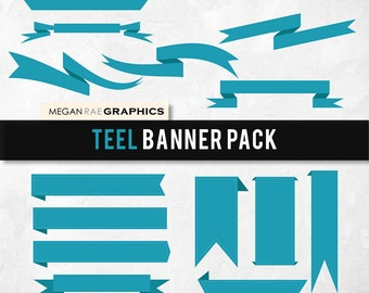 """Banner clipart set -  """"TEEL BANNERS"""" Digital clipart pack (includes 15 unique banners)"""