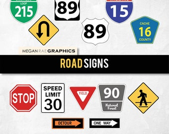 "Road Signs clipart set -  ""ROAD SIGNS"" Digital clipart pack (includes 13 unique Highway road signs)"