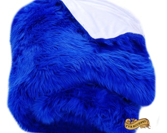 FUR ACCENTS Fan Fur Faux Fur Bedspread / Comforter / Blue Shag with White Minky Lining