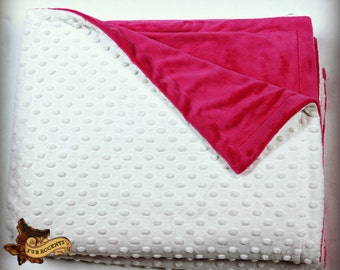 FUR ACCENTS Minky Cuddle Fur Throw Blanket / Reversible / White Button Minky with Hot Pink