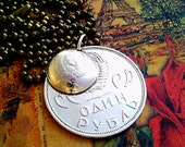 Unique gifts. Coin pendant. Jubilee Ruble USSR 1965. Soviet coin 10 kopecks. 1961. Domed shape coin. In a gift box.