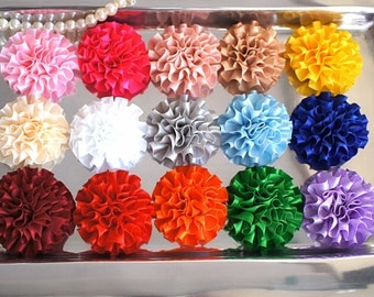 "Set of 5 Mini Satin Puff 2"" inch Flowers - Wholesale Lot - YOU PICK COLORS - Cabbage Satin Puff Flowers - Mini Satin Flower - Fabric Flowers"