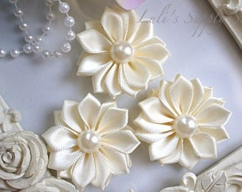 "3 Ivory 1.5"" Satin Flowers w/ Pearl Center - Petite Satin flower - Satin Ribbon Flower - Fabric Flower - wholesale flowers"