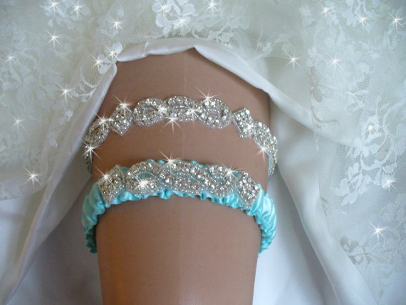 Garters, Wedding, Wedding Garter,  Tiffany Blue.Garter, Wedding Garder, Wedding, Crystal Garter, Something Blue, Rhinestone Garter,