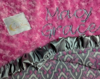 FREE SHIPPING Personalized Baby Blanket with Minky Mar Bella Sophia Valencia.  More Options available.