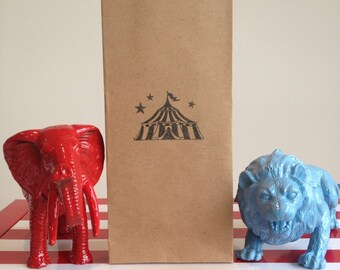 12 x Circus Lolly / Candy Bags - Brown Kraft Bags Hand Stamped with Circus Tent, Big Top, Carnival Theme Party