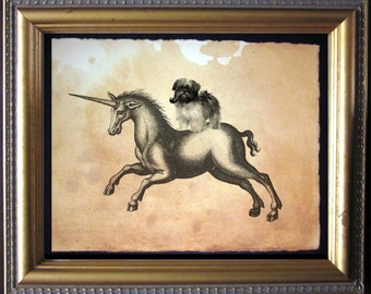 Lhasa Apso Riding Unicorn - Vintage Collage Art Print on Tea Stained Paper - Collage Art Print - Cotton Rag paper