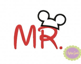 Mr with Mouse Hat t Machine Embroidery Applique Design