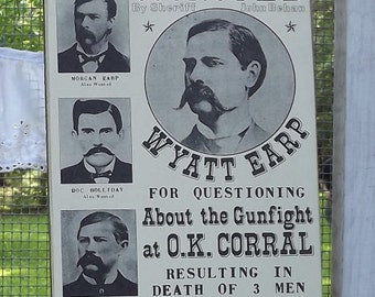 Wyatt Earp and the Gunfight at O.K. Corral Hanging Wall Sign