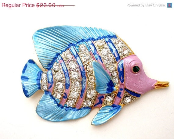 Sale Enamel Rhinestone Fish Brooch Pink Blue LS Figural Vintage Pin