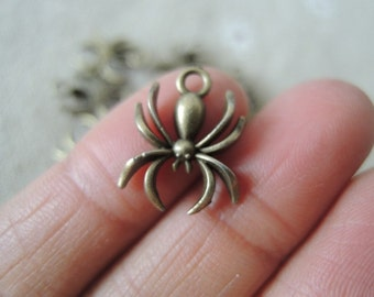 30 18x14mm Antique Bronze Spider Charm Pendant Tibetan Style Jewelry Findings  (A289)