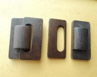 1pair  7x5.5cm  large wood belt buckle  (W671)