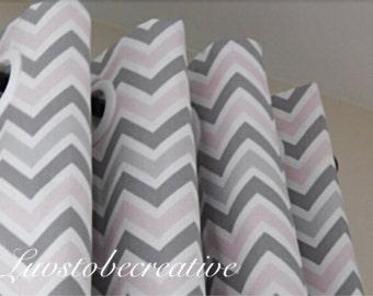 Curtains Chevron Grommet Curtain Panels- You Choose Color