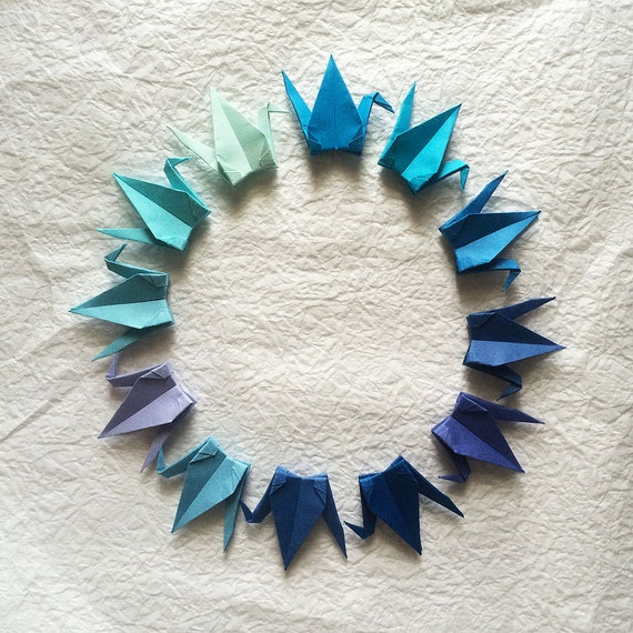 1000 3 blue tones tant origami paper cranes by origamilanddeco for 1000 paper cranes wedding decoration