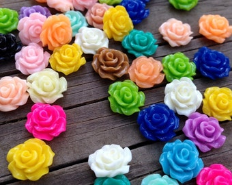 100 Assorted Color 10mm Resin Cabochon Flowers with No Hole and Flat Back