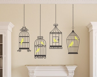 4 BIRDS CAGES Decals Removable Wall Art 2 colors Vinyl Dinning Living Room Nursery Birdcage Sticker