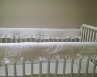 Two Piece Set Ruffled Washed Linen Crib Rail Covers