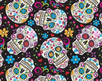 David Textiles - Folkloric Skulls - Black - Cotton Woven Fabric