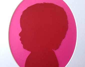 Custom Hand Cut Paper Silhouette Portrait With White Oval Matte 11x14