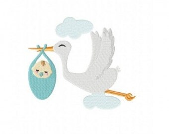 Stork Delivery Machine Embroidery Design