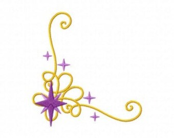 Twinkle Stars Corner Machine Embroidery Design