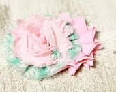 mint and pink headband, mint headband, pink headband, newborn headband, baby headband, photography prop