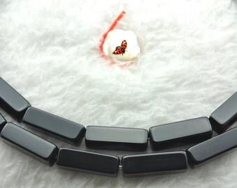 Black Onyx smooth rectangle beads 4x13mm,28 pcs