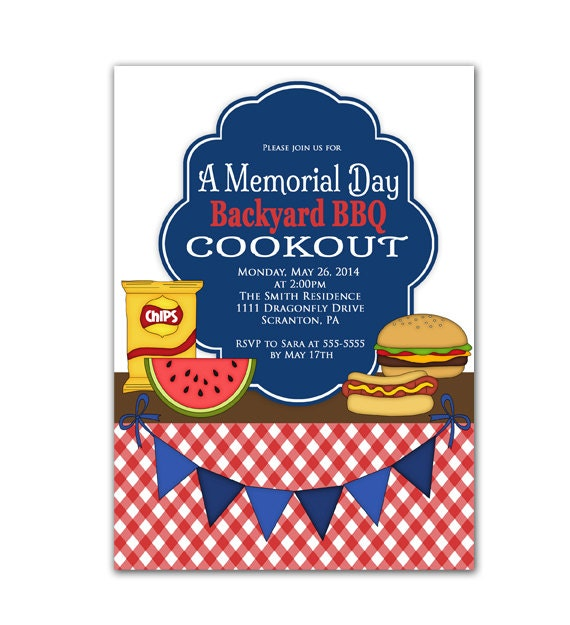memorial day patriotic bbq party invitations