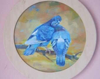 Art Original Oil  Painting Love and pigeons