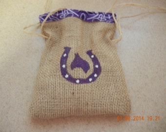 Horseshoe Treat Bags, Burlap Favor Bags, Birthday Party Bag, Goodie Bag, Country Wedding Favors, Western Party Favors, Western Party Bags