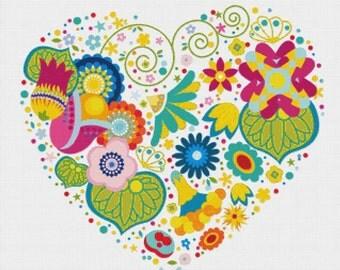 Heart of Flowers PDF Cross Stitch Pattern