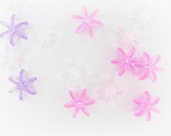 Star beads, Spacer Beads, 20 pcs, Acrylic, 10mm, Cog spacers, Pink Purple Clear mix